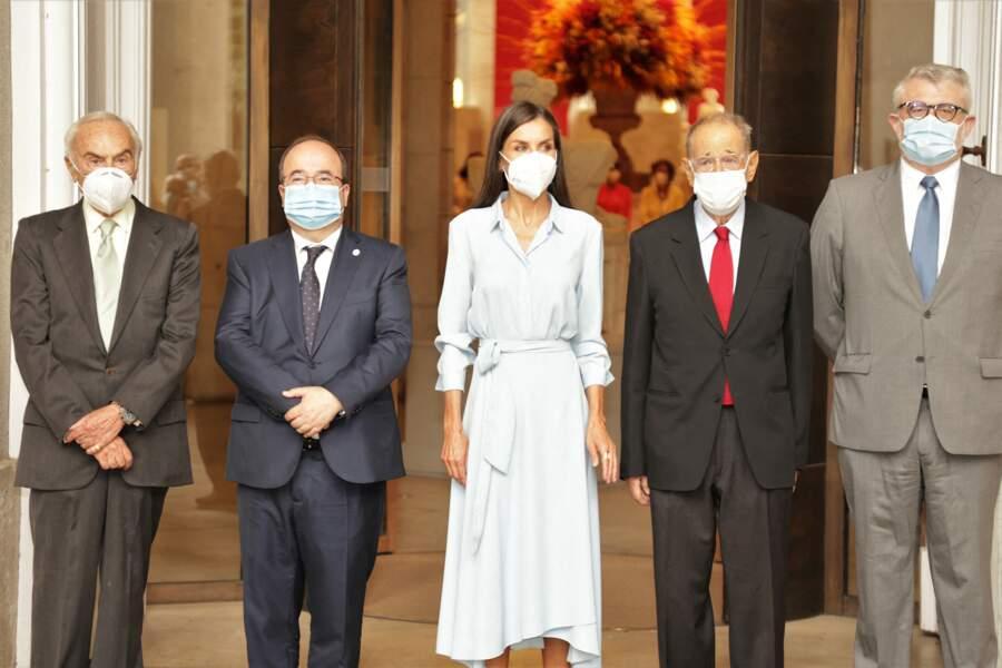 En compagnie des représentants du Musée et du Ministre de la Culture et des Sports, la reine Letizia d'Espagne a assumé ses obligations royales à l'occasion des 40 ans de la Fondation des amis du Prado, à Madrid, le 13 septembre 2021.