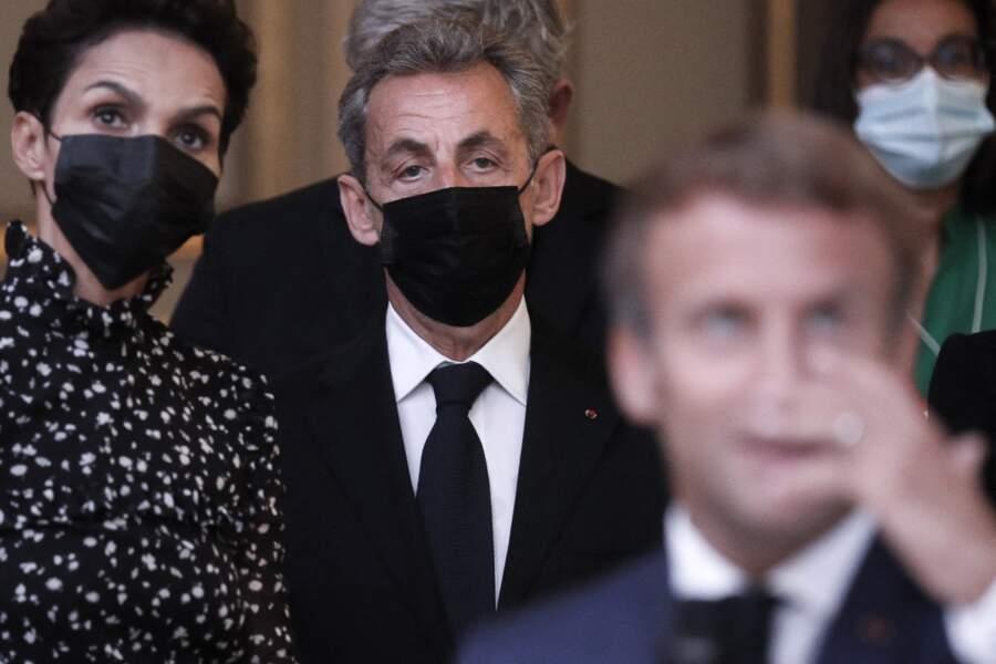 Farida Khelfa aux côtés de Nicolas Sarkozy, à l'Élysée, ce 13 septembre 2021
