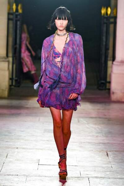Chez Isabel Marant, Camaïeu de mauves, fuschia et violet sur cette petite robe fluide signature