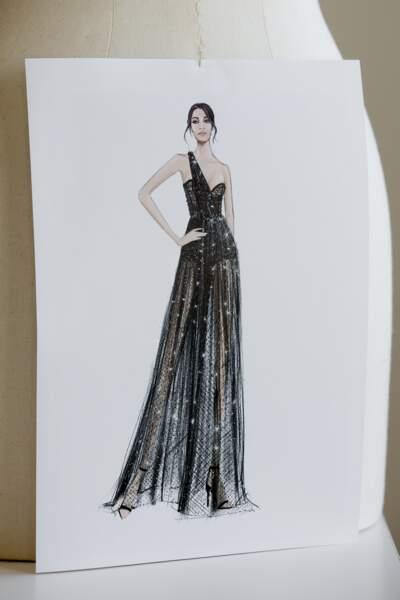 Un croquis de la robe imaginée par Dior par Maria-Grazia Chiuri pour Leïla Bekhti et sa styliste Leïla Boumedjane