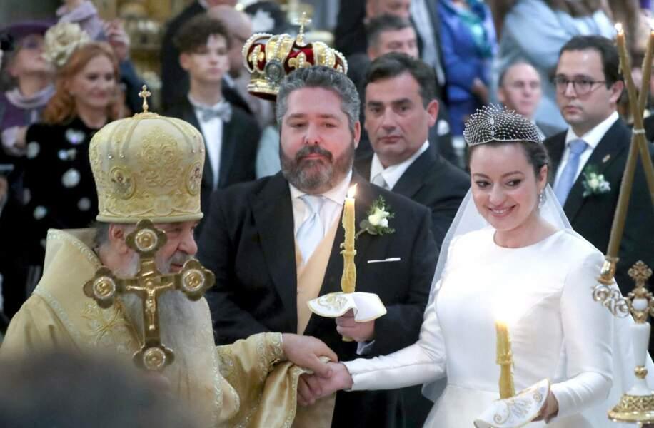 De confession orthodoxe, les deux époux ont tenu à rendre hommage à l'héritage familial des Romanov lors de la cérémonie religieux en la cathédrale Saint-Isaac, à Saint-Pétersbourg, le 1er octobre 2021.