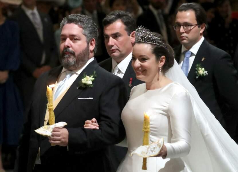 """Le grand-duc George Mikhailovich de Russie et Rebecca Victoria Bettarini d'Italie se sont dits """"oui"""" en la cathédrale St-Isaac à Saint-Petersbourg, le 1er octobre 2021."""