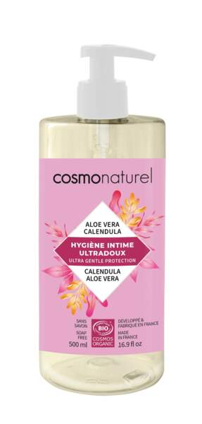 Gel Intime Ultradoux Hypoallergénique Calendula & Aloe Vera, Cosmonaturel, 11,30€, en magasins bio