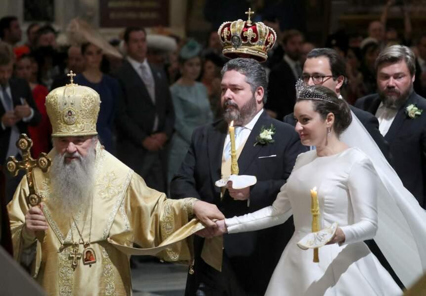 Lors de la cérémonie religieuse, le grand-duc George Mikhailovich de Russie et Rebecca Victoria Bettarini d'Italie se sont prêtés aux rites orthodoxes en la cathédrale Saint-Isaac, le 1er octobre 2021.