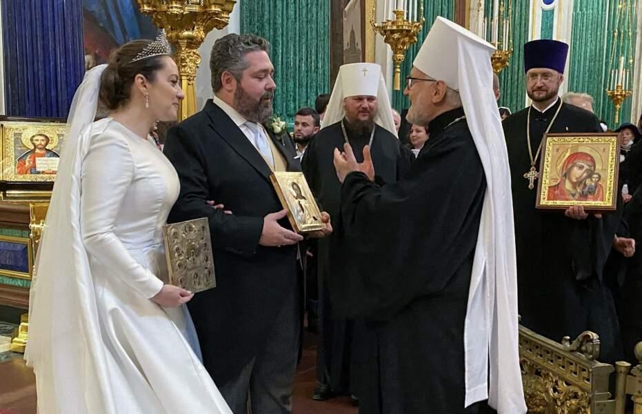 Les caméras des grandes chaînes de télévisions russes étaient présentes pour immortaliser le mariage du grand-duc George Mikhailovich de Russie et de Rebecca Victoria Bettarini, le 1er octobre 2021.