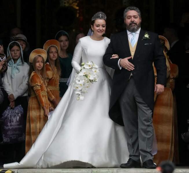 """Le grand-duc George Mikhailovich de Russie et de Rebecca Victoria Bettarini d'Italie se sont dits """"oui"""" en la cathédrale St-Isaac à Saint-Petersbourg, le 1er octobre 2021."""
