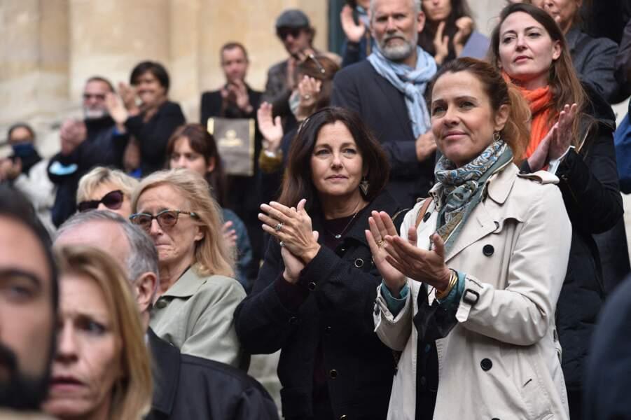Cristina Reali et autres grandes personnalités du théâtre sont venus dire au revoir à François Florent, père mythique des cours Florent, à l'église Saint-Roch, à Paris, ce 4 octobre 2021.