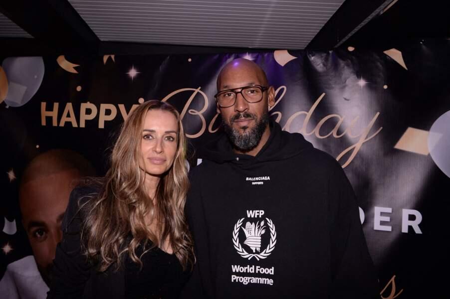 Nicolas Anelka et sa femme Barbara à la soirée d'anniversaire de Fouad Ben Kouider (le fiancé de Nawell Debbouze) à Paris le 2 octobre 2021.