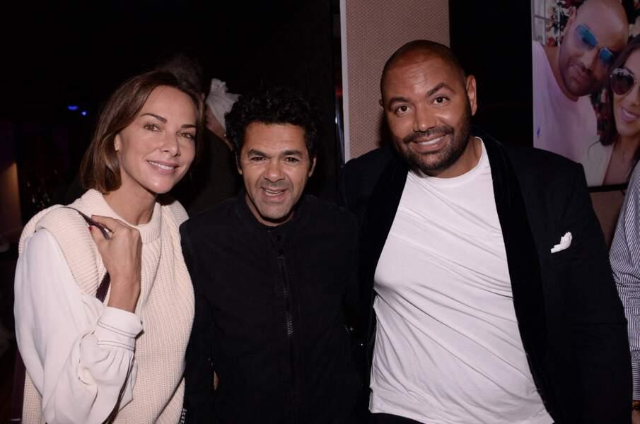 Jamel Debbouze et sa femme Mélissa Theuriau avec Fouad Ben Kouider (futur beau-frère de l'humoriste), lors d'une grosse soirée sur un yacht, à Paris, le 2 octobre 2021.