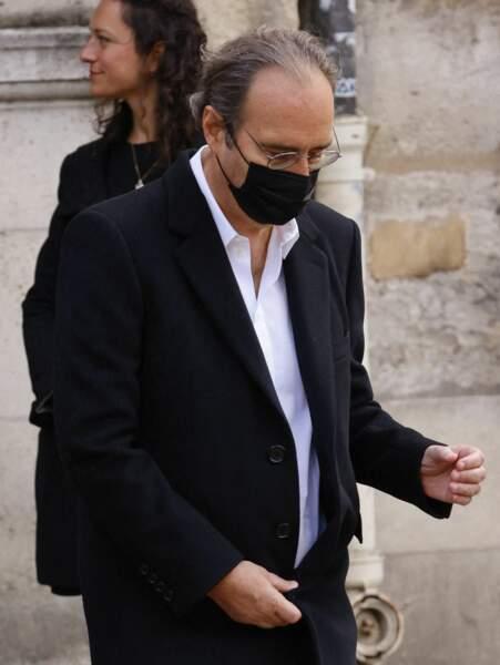 Xavier Niel lors de la messe funéraire en hommage à Bernard Tapie en l'église Saint-Germain-des-Prés à Paris, le 6 octobre 2021