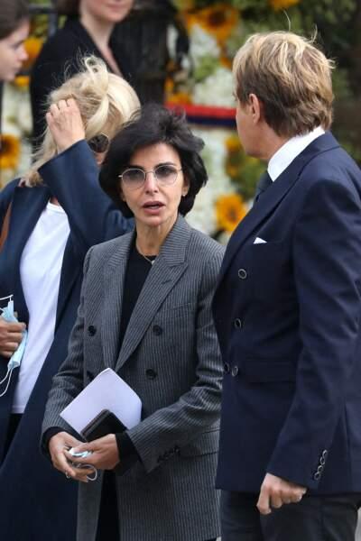 Rachida Dati lors de la messe funéraire en hommage à Bernard Tapie en l'église Saint-Germain-des-Prés à Paris, le 6 octobre 2021
