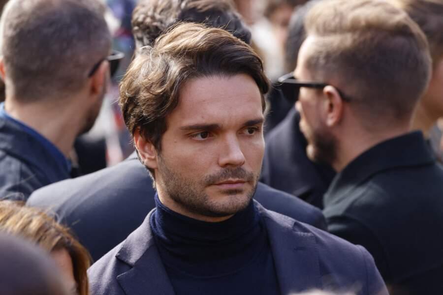 Jean-Mathieu Marinetti, l'époux de Sophie Tapie, lors de la messe funéraire en hommage à Bernard Tapie en l'église Saint-Germain-des-Prés à Paris, le 6 octobre 2021