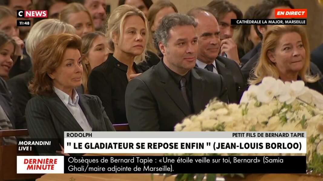 Sa veuve Dominique, son fils Laurent et sa fille Nathalie émus pour les obsèques de Bernard Tapie célébrées en la cathédrale de la Major, à Marseille, le 8 octobre 2021.