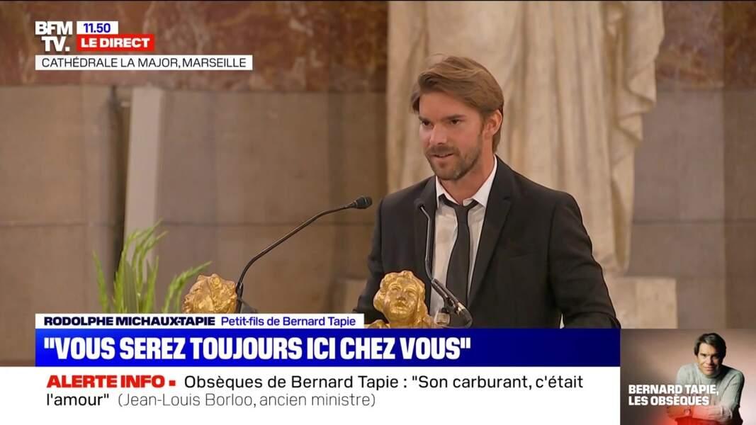 Son petit-fils Rodolphe a prononcé un discours lors des obsèques de Bernard Tapie célébrées en la cathédrale de la Major, à Marseille, le 8 octobre 2021.