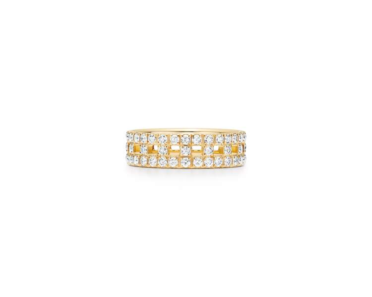 Bague T True de Tiffany & Co en or 18 carats et diamants, portée par Leïla Bekhti lors du dernier festival de Cannes