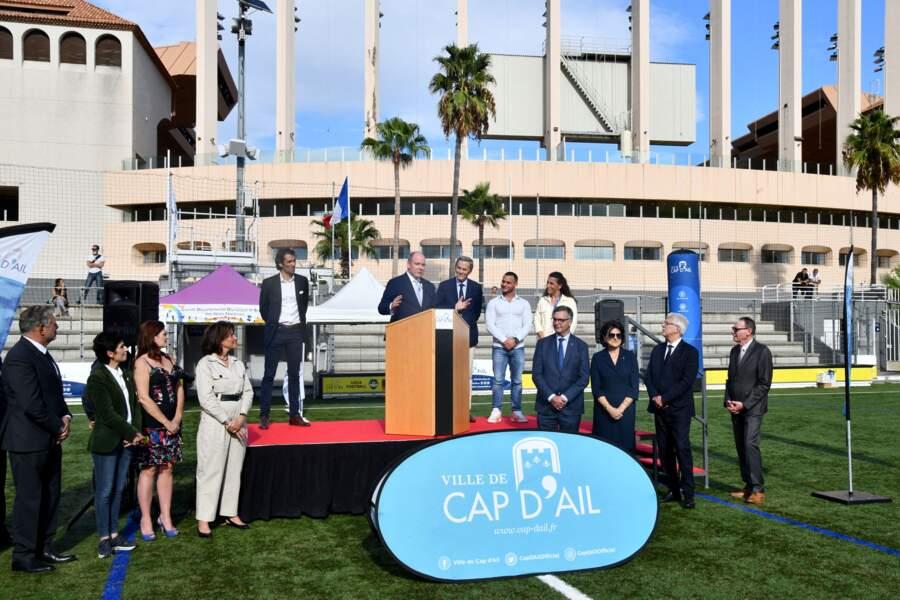 PHOTOS - Albert de Monaco entouré de Xavier Beck, Samir Aït Saïd et Fanny Horta à Cap d'Ail, le 8 octobre 2021.