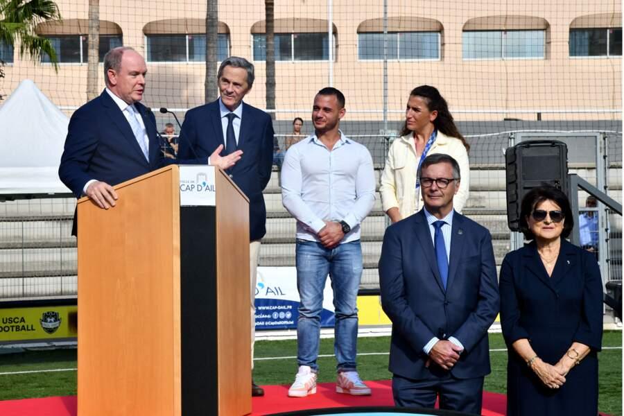 PHOTOS - Albert de Monaco a prononcé un discours aux côtés de Xavier Beck,  Samir Aït Saïd et Fanny Horta au stade D. Deschamps, le 8 octobre 2021.