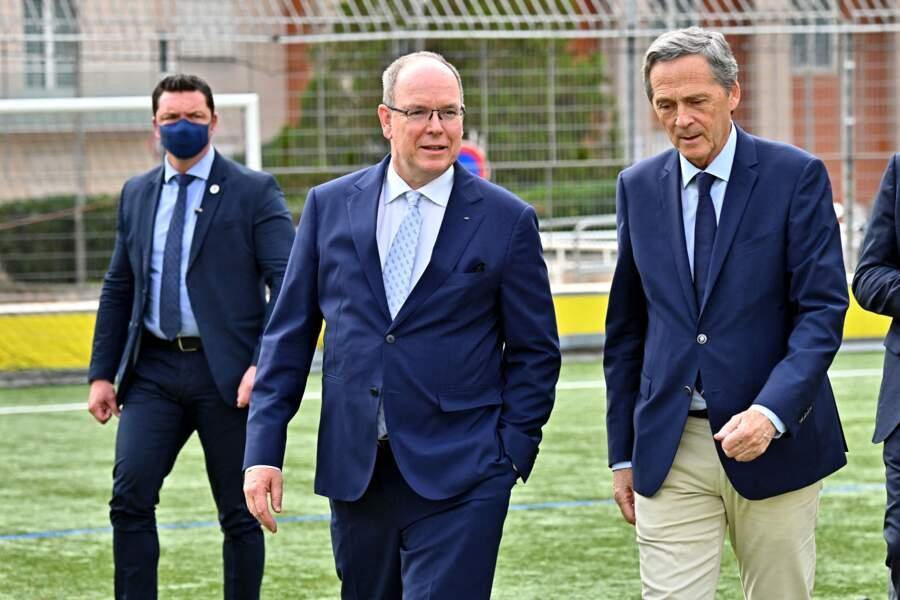 PHOTOS - Albert de Monaco et Xavier Beck au stade D. Deschamps le 8 octobre 2021.