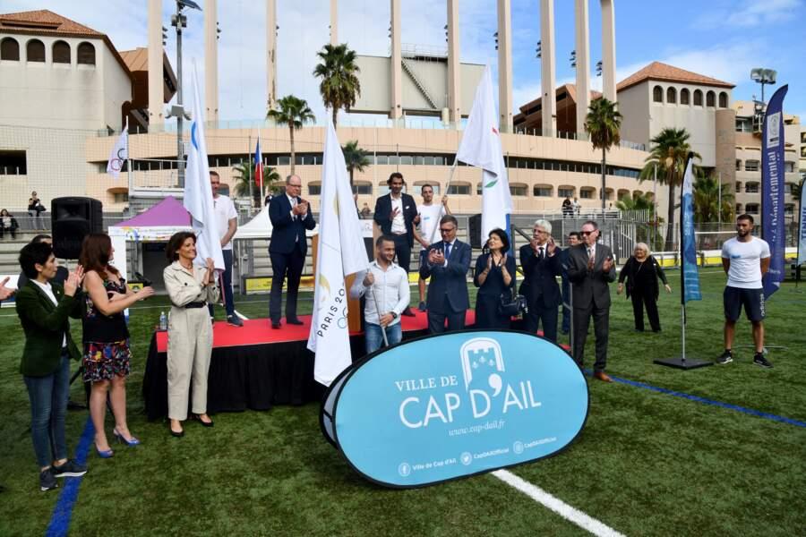 PHOTOS - Albert de Monaco après son discours lors de la tournée des drapeaux des JO Paris 2024 qui a fait une escale à Cap d'Ail, le 8 octobre 2021.