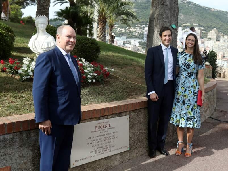 PHOTOS - Albert de Monaco aux côtés du prince Jean Christophe Napoleon et de son épouse Olympia von Arco-Zinneberg à Monaco le 9 octobre.