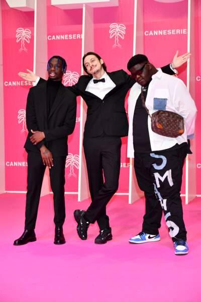 Geeeko, Romeo Elvis et Smahlo complices pendant le photocall, le 9 octobre