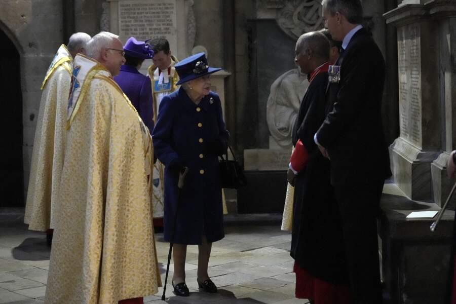 La reine d'Angleterre à la sortie de l'abbaye de Westminster, à Londres, Royaume Uni, le 12 octobre 2021.