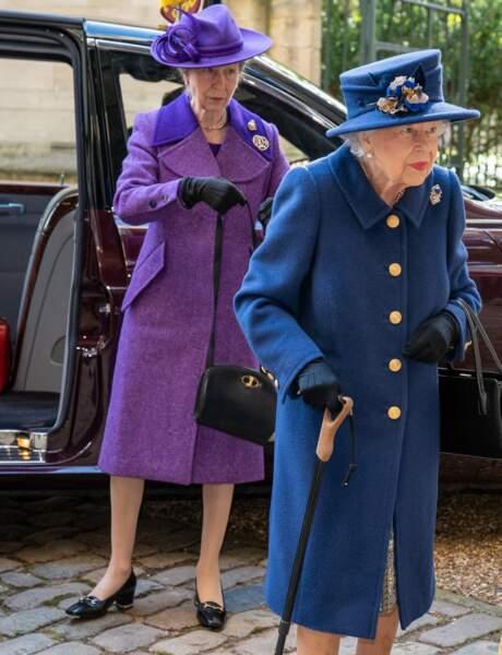 La reine Elizabeth II d'Angleterre et la princesse Anne ont assisté ensemble à la cérémonie donnée à l'occasion du centenaire de la Royal British Legion, à Londres, le 12 octobre 2021.