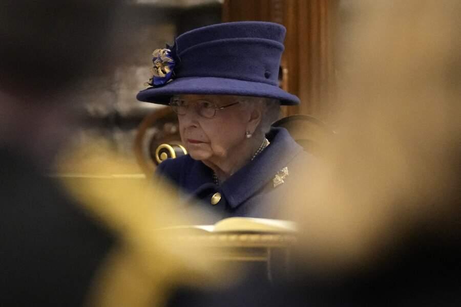 La reine Elizabeth II d'Angleterre au service d'action de grâce à l'abbaye de Westminster pour arquer le centenaire de la Royal British Legion.