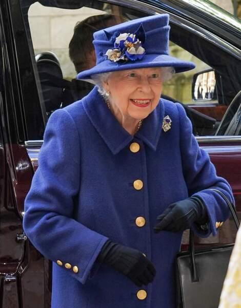 La reine Elizabeth en marge de la cérémonie religieuse à l'abbaye de Westminster pour le centenaire de la Royal British Legion, à Londres, le 12 octobre 2021.
