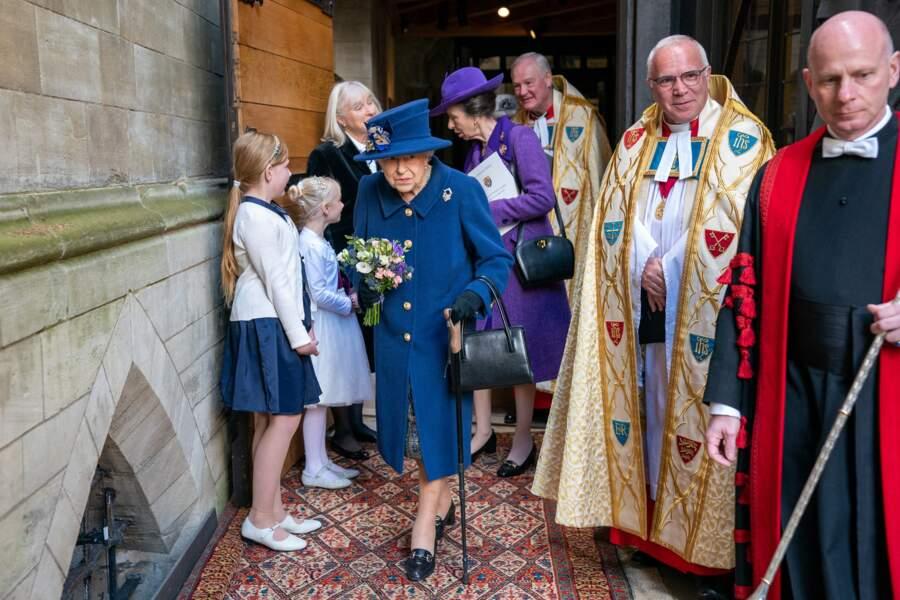 La reine Elizabeth II a assisté à un service d'action de grâce à l'abbaye de Westminster pour marquer le centenaire de la Royal British Legion, à Londres, le 12 octobre 2021.
