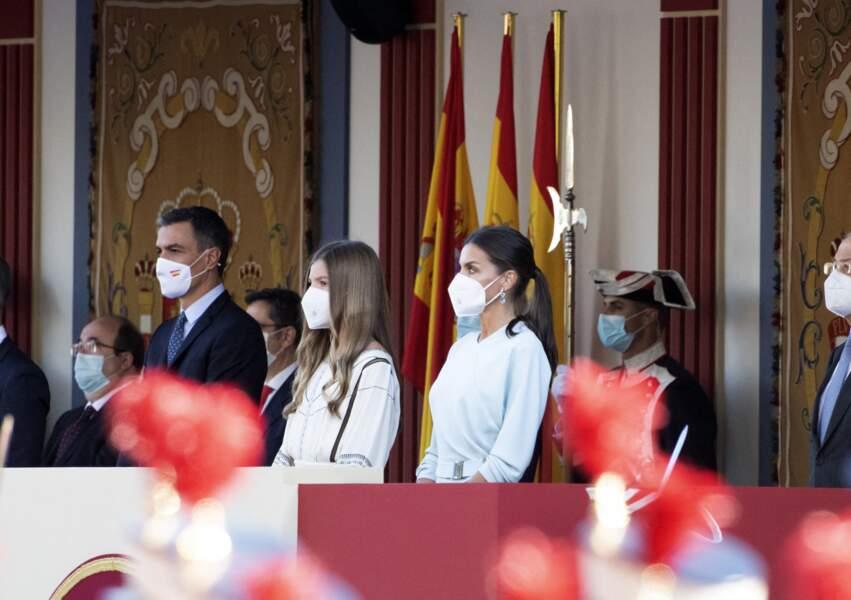 Sofia d'Espagne ravissante avec ses parents à Madrid, le 12 octobre 2021