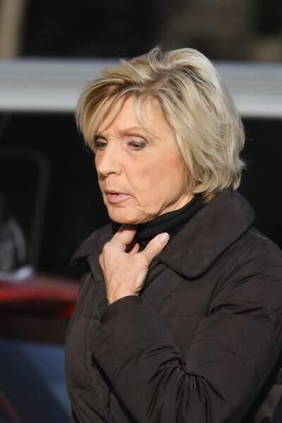 La célèbre présentatrice météo de TF1, Évelyne Dhéliat aux obsèques d'Etienne Mougeotte en l'église Saint-François-Xavier à Paris, le 13 octobre 2021