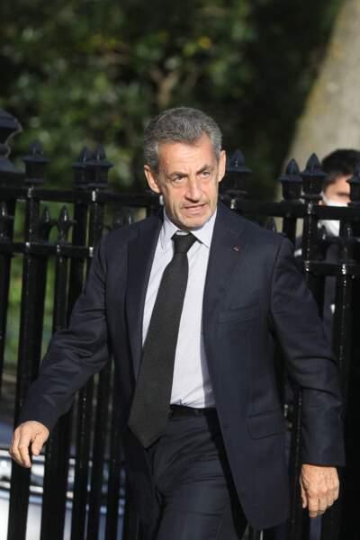 L'ancien président de la République, Nicolas Sarkozy assiste aux obsèques d'Etienne Mougeotte en l'église Saint-François-Xavier à Paris, ce 13 octobre 2021